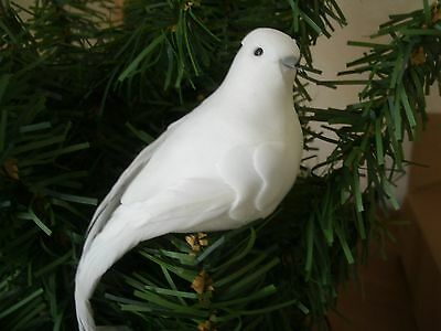 "Lot of 6 White DOVE Feather Mushroom Birds Christmas wedding decor: 3"" long NIP"