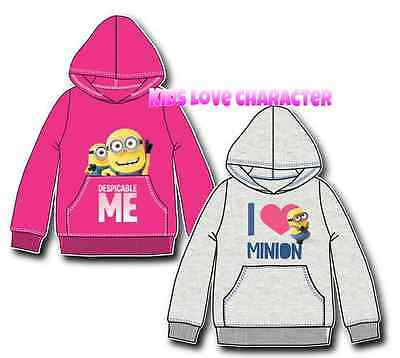Girls Minion Hoodie Jumper Sweater Top Despicable Me Age 3-9Y Bnwt 1St Class P&p