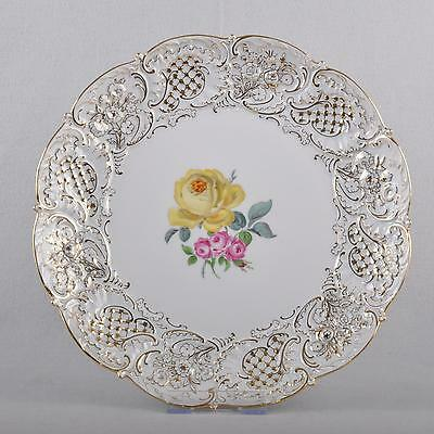Meissen large ceremonial dish ellow and red rose, relief decoration, 30 cm