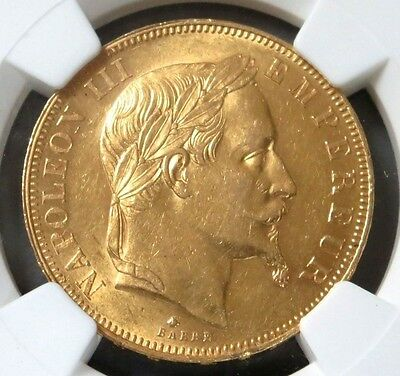 1864 A Gold France 50 Francs Napoleon Iii Coin Ngc About Uncirculated 58