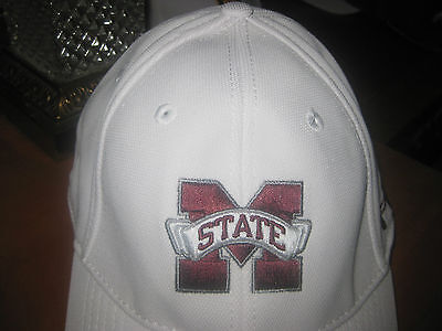 Mississippi State M State Adult Mens Fitted Large White Baseball Cap Hat New