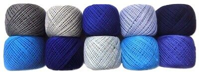 LOT OF 10- SHADES OF BLUE 6 Ply Strand Cotton Thread Yarn CrossStitch Embroidery