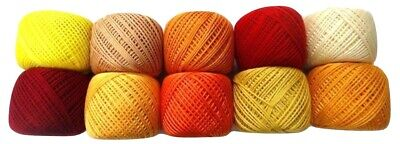 LOT OF 10 SHADES OF YELLOW 6 Ply Strand Cotton Thread Yarn CrossStitch Embroider