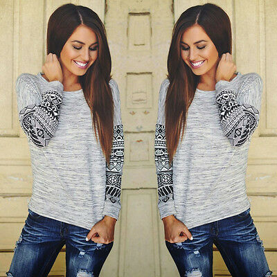 Fashion Womens Long Sleeve Shirt Casual Lace Loose Cotton Tops T Shirt Blouse