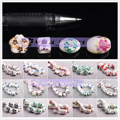 New 10pcs Flower Patterns Ceramic Porcelain Charms Loose Spacer Beads 73 Colors