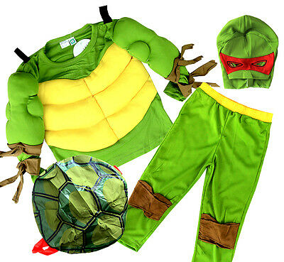 NEW Sz 2~10 KIDS BOYS COSTUME MUSCLE NINJA TURTLE CHILDREN SUPERHERO DRESS UP