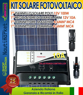Solar kit panel 12V 100W + PWM charger 10A + MC4 connector #30200116-E