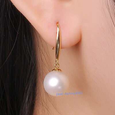 new 12-11MM AAA PERFECT south sea white pearl earrings 14K  GOLD