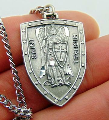 St Michael Solid Pewter Protection Shield Saint Medal + Chain Boxed from Italy