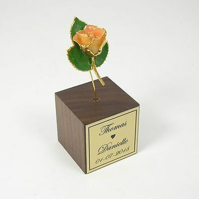 Gold Dipped Pink/Cream Rose Personalized Stand (Free Anniversary Gift Box)