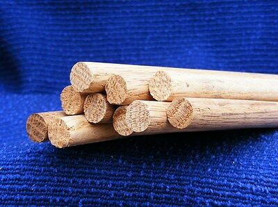 10pcs Oak dowling wooden  rod 12.7mm x 300mm doweling =3 meters £3.14 per meter