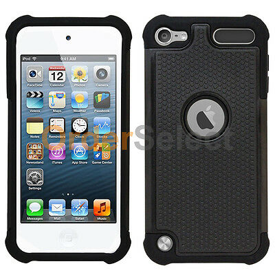 NEW Hybrid Rugged Rubber Hard Case for Apple iPod Touch 5 5th Gen Black 300+SOLD