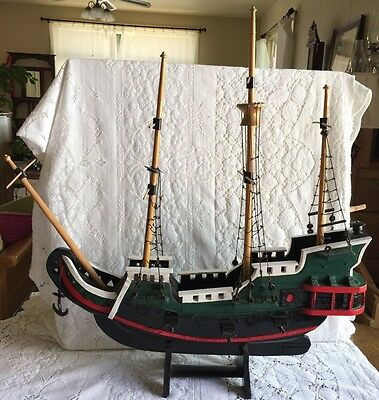 Hand Carved & Crafted Wooden Sailing Ship Folk Art Model Signed Dated 1930