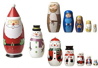 Christmas Russian Nesting Dolls Santa Snowman Nativity Decoration Gift
