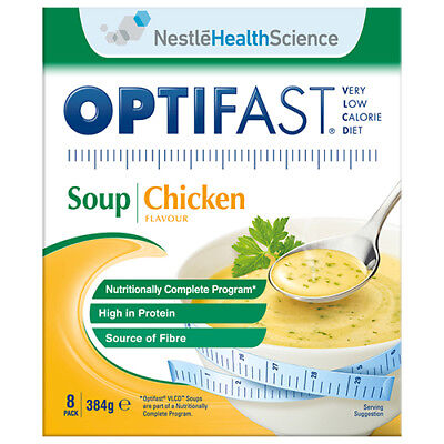 NEW Optifast VLCD Soup Pack Chicken Flavour Nutrition High Protein 8 Pk