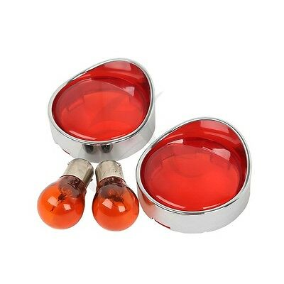 2pcs Turn Signal Red Lens Cover Visor Ring + Bulb for Harley Touring Road King