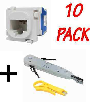 10 x CAT6 RJ45 Data Inserts Jacks - Mech - FREE Punch Down Tools!