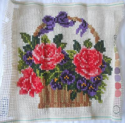Vintage Completed Tapestry Basket Flowers Design Suit Cushion Tote Craft
