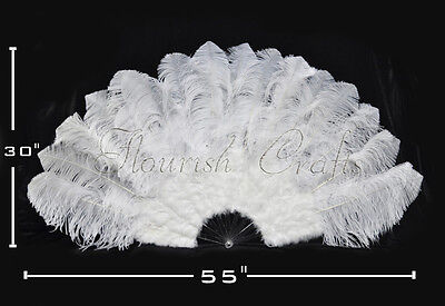 "pure color Ostrich  Marabou Feather fan pmma staves opened 55"" Burlesque friend"