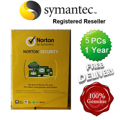 Norton ( Internet ) Security Anti virus All In ONE 5 PCs 1 Year Retail 2016 UK