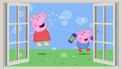 HUGE 3D WINDOW WALL ART STICKER - PEPPA PIG 1 GEORGE decal vinyl Wallpaper