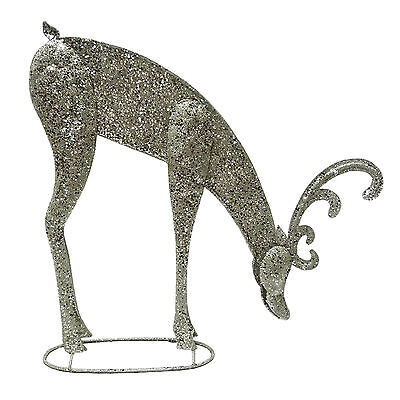 Stunning Grazing Christmas Reindeer Sparkly Champagne Silver Colour Festive