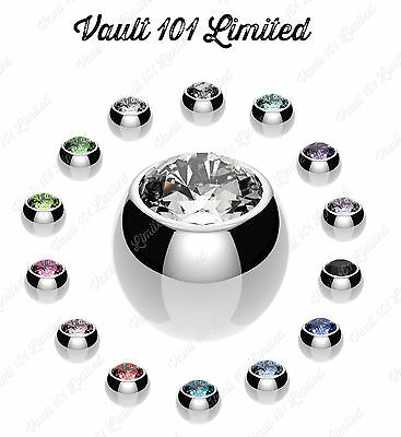 Spare Balls WITH GEMS Belly / Nipple / Tragus / Labret / Tongue / Ear Piercings