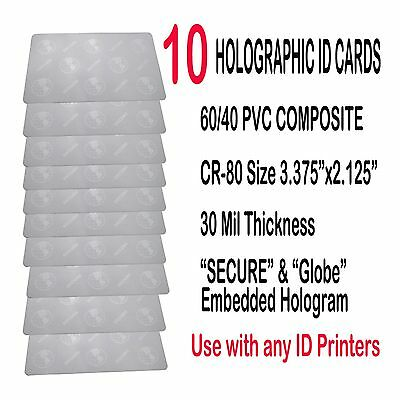 HOLOGRAPHIC ID CARD - ( SECURE/GLOBE - Embedded Hologram image) Qty (10) Cards