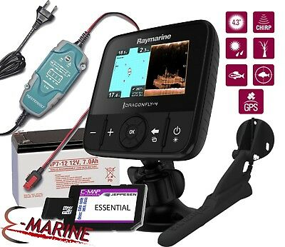 Raymarine Dragonfly 4 PRO Eco/GPS Chirp DownVision + Battery + Charger + Chart