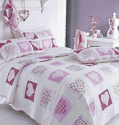 SOPHIA Girls Pink Hearts Patchwork Quilt or Pillowshams