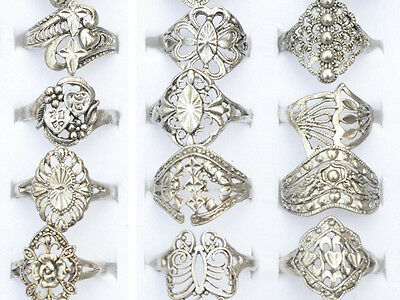 Fabulous 10 Wholesale Lot Jewelry Mixed Style Tibet Silver Vintage Rings Hollow