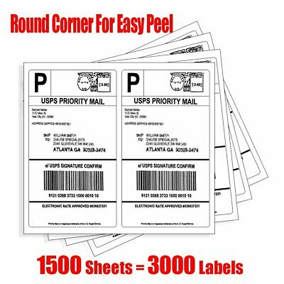 "3000 Half Sheet Shipping Labels 8.5""x5.5"" Round Corner For Laser Inkjet-2/Sheet"