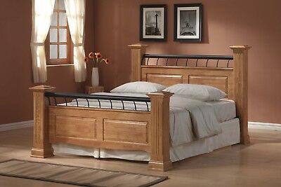 4Ft6 Double Rolo Bed Frame- Modern Traditional Wood Bed- Four Poster Light Oak