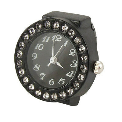 New Practical Ladies Elastic Black Band Rhinestone Case Finger Ring Watch CY