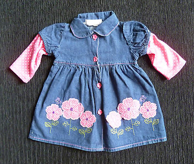 Baby clothes GIRL 6-9m Isabelle Rose flower denim long sleeve dress COMBINE POST