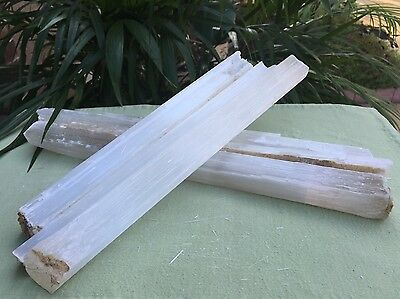 One White Selenite Stick Wand Rough Specimen Chakra Energy Crystal Metaphysical