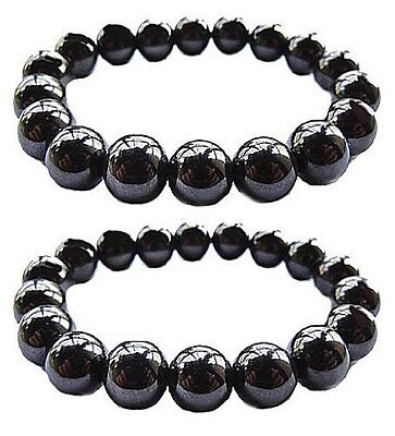 Set Of 2 Magnetic Hematite Therapy Bracelets Lg 12mm / Pain Relief