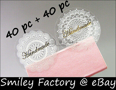 80pcs Transparency Lace Handmade Stickers Packing Material for handmade crafts