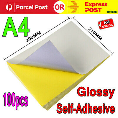 100 x A4 White Glossy Self Adhesive Sticker Paper Sheet Label Laser Print