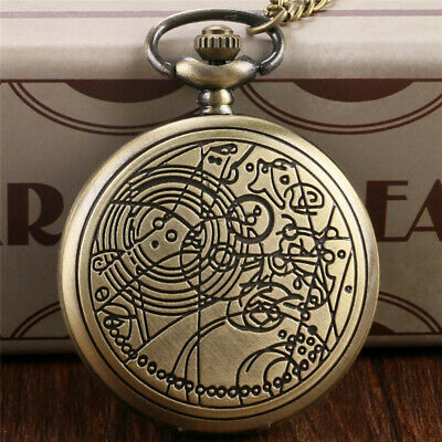 Vintage Retro Doctor Who Theme Necklace Quartz Pocket Watch Chain Mens Gift