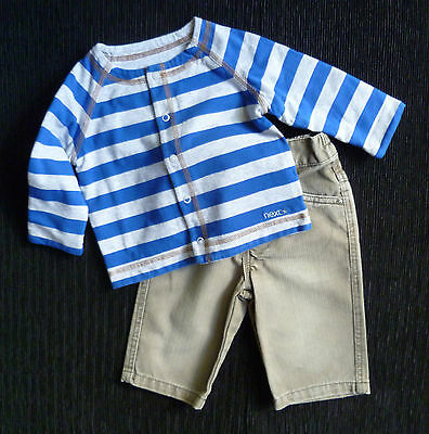 Baby clothes BOY 3-6m NEXT outfit brown cotton thick trousers/blue stripe jacket