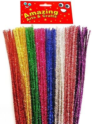100 Tinsel Pipe Cleaners Stems Craft 30cm  8 Assorted Colours in each pack