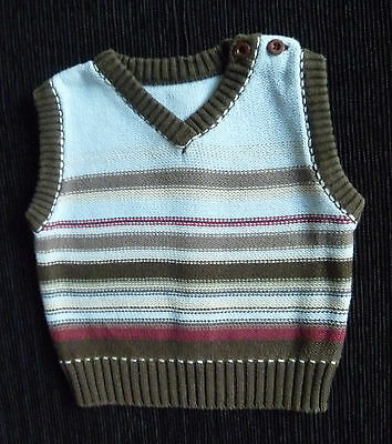 Baby clothes BOY 0-3m soft cotton knitted striped sleeveless sweater SEE SHOP!