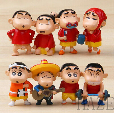 New Crayon Shin-chan Cartoon Action Toy Figure Set of 8pc kid's gift AA*