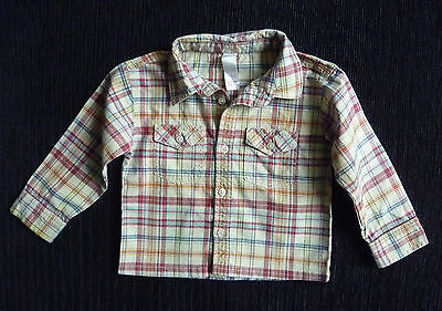 Baby clothes BOY 12-18m coffee/dark red check shirt pocket long sleeve  SEE SHOP