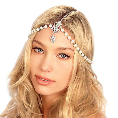 Kristin Perry Crystal Pearl Tikka Chain Bridal Headpiece Grecian Hair Jewelry