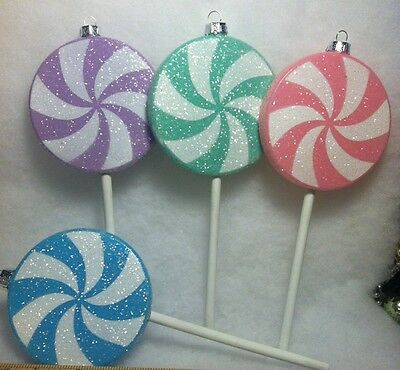4 Large Sugar Coated Lollipop Christmas Tree Ornaments Candy Sweet Theme