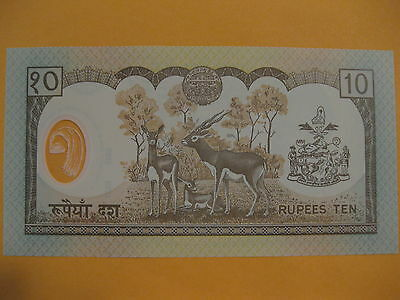 Nepal 10 Rupees Banknote, UNC, Antelope, Animal, paper money New Polymer note