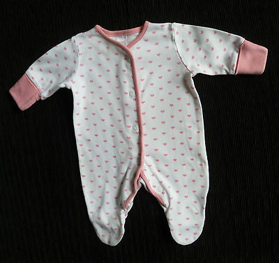 Baby clothes GIRL premature/tiny baby<7.5lbs/3.4kg NEXT pink heart babygrow