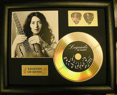 Rory Gallagher Preprinted Autograph, Gold Disc & Plectrum Presentation